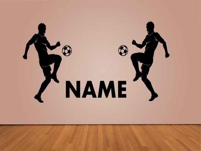 Behang Kinderkamer Voetbal : Gepersonaliseerde naam vinyl decal jongen kamer sport voetbal
