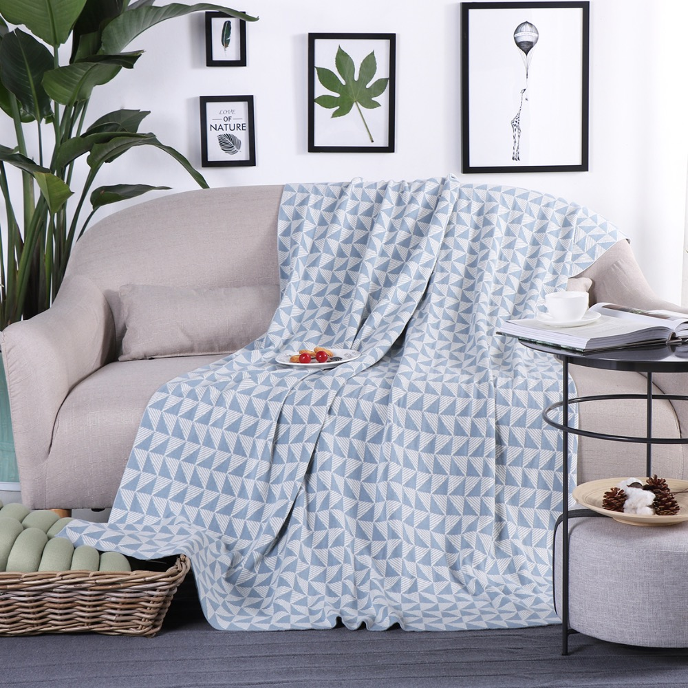 iDouillet Modern Blue Geometric 100% Cotton Decorative Knitted Throw Blanket for Bed Sofa Couch Chair Travel 130x180cm HomeiDouillet Modern Blue Geometric 100% Cotton Decorative Knitted Throw Blanket for Bed Sofa Couch Chair Travel 130x180cm Home