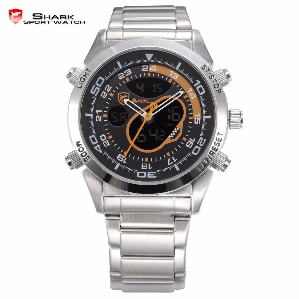 Snapper Shark Sport Watch Men Quartz Stainless Full Steel Dual Display Male Black Orange Dial Outdoor Digital Wristwatch / SH150