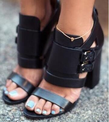 2017 Summer Sexy Black Leather Women Sandals Pumps Thick Heel Open Toe Buckle Strap High Heel Shoes Gladiator Sandals Boots платье french connection french connection fr003ewhuq37