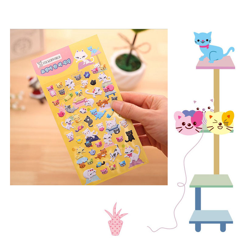 2016 New DIY Lovely Miss Cat perspective puffy sticker book stickers decorative stickers