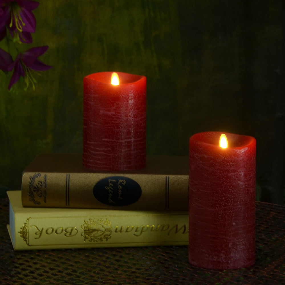 Flickering Pillar Led Candle Light Timer Paraffin Wax