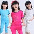 2015 grandes de los niños niñas ropa de verano establece los trajes del deporte adolescente ropa de moda para niños t-shirt + pants 3 colores edad 4-13