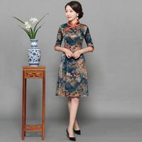 Vintage Slim Printed Vestidos New Arrival Qipao Women Flower Satin Cheongsam Chinese Mandarin Collar Dress M L XL XXL XXXL