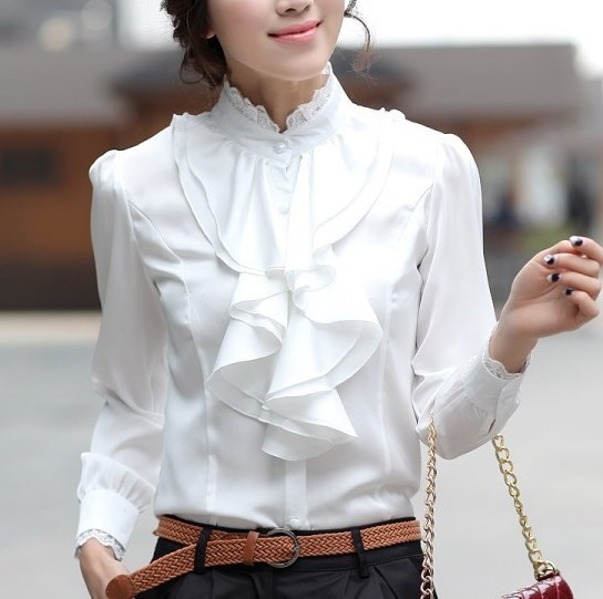 Women Pink White Silver Tops Blouses Long Sleeve Womens Work Ruffle Shirts Stand Collar Slim Waist Shirts Office Ladies Camisa