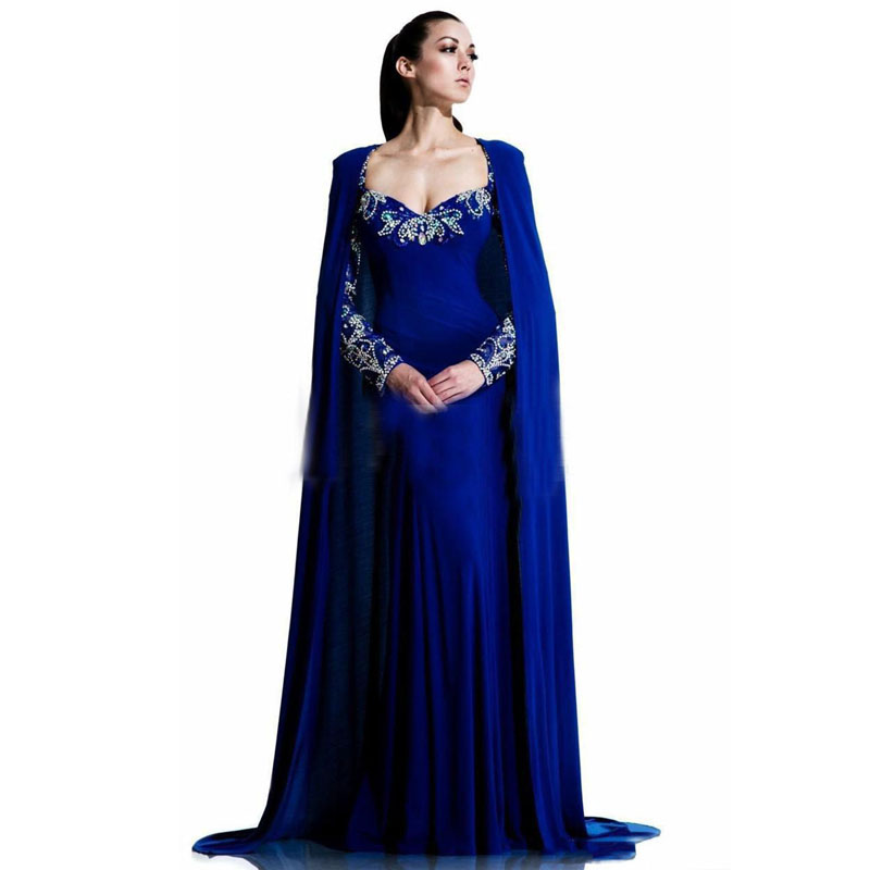 Couture Evening Gowns And Dresses: Royal Blue Luxury Saudi Arabic Women Evening Dress Couture