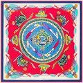 130 * 130cm Twill Silk Scarf echarpes foulard women dragon chain square scarves shawls bufandas