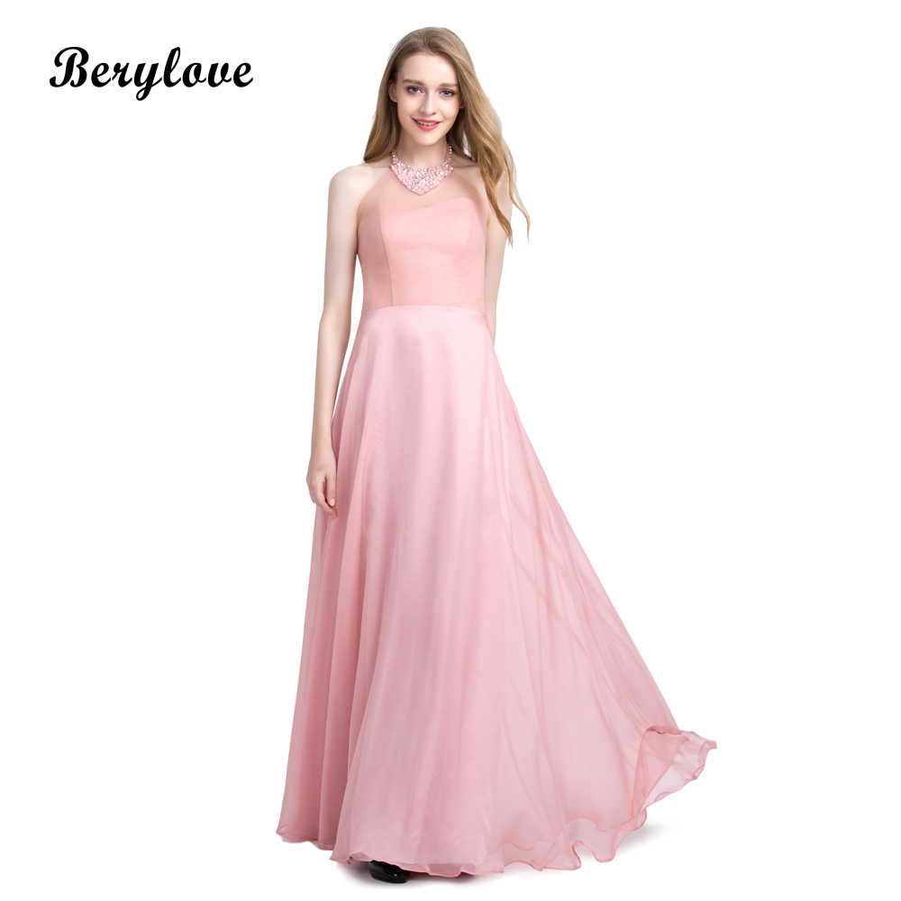 BeryLove Long Blush Pink Tulle Evening Dresses 2018 Beaded Halter ...