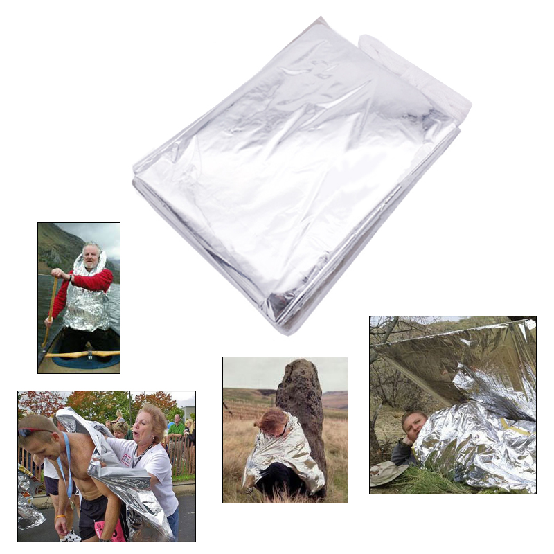 Outdoor Rescue Emergency Blanket Survive Thermal Mylar Lifesaving First Aid Kit Treatment Camp Warm Heat Dry Keep Foil Bushcraft