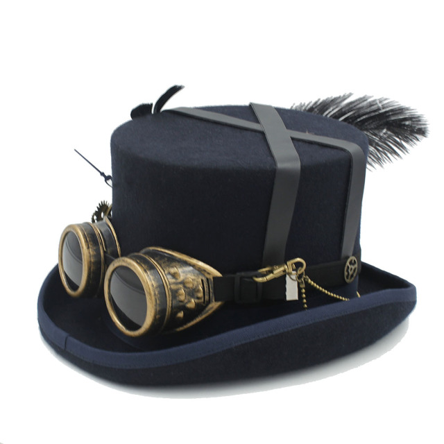 07db31967ec Women Men Wool Handmade Steampunk Top Hat With Steam Punk Glasses Gear  Feather Fedora Cosplay Party Hat 4 Size 4Color