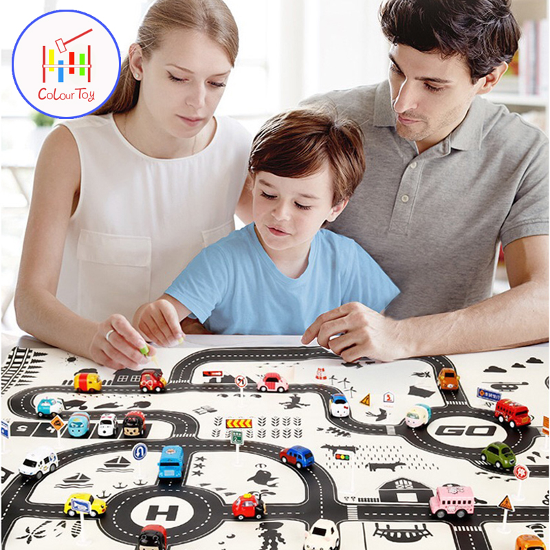 Kids City Map Game Play Mat Car Toys Model North European Style Taffic Highway Educational Interactive Toys Children Road Carpet plan