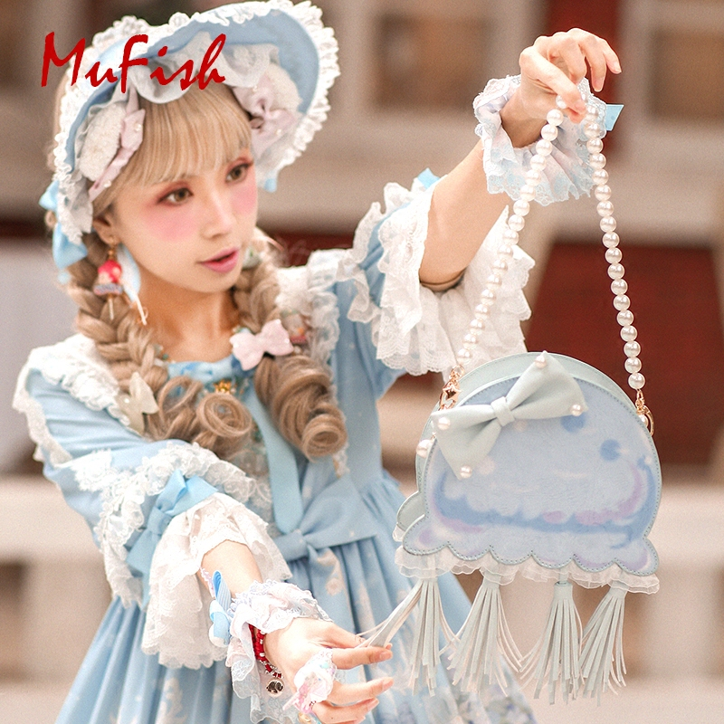 Princess sweet lolita Original design cute little jellyfish bow tie pearl Lolita bag and soft girl jelly women's bag MXY200 sweet girl s sandals with bow and velcro design