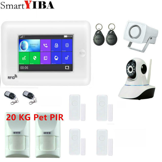 Cheap SmartYIBA APP Control WIFI GSM Alarm 4.3inch Touch Screen Home Burglar Security Alarm System with IP Camera
