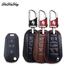 KUKAKEY Genuine Leather Car Key Case Flip Remote Protect Cover For Citroen C4 CACTUS C5 C3 C4L Peugeot 508 301 2008 3008 408 jingyuqin 3buttons silicone key case cover for peugeot 508 301 2008 3008 4008 407 408 citroen c5 c6 c4l cactus c3xr ds smart key