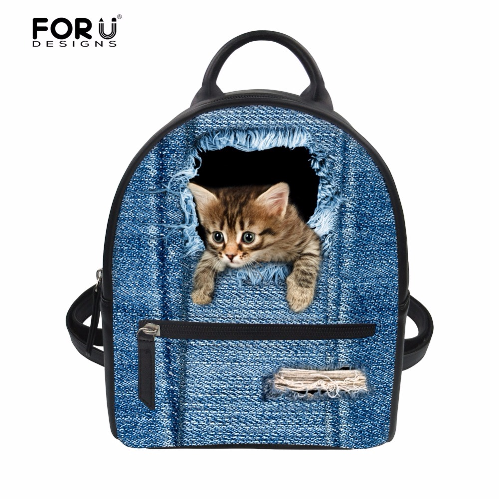 FORUDESIGNS Denim Animal Cat Dog Cute Women Backpack Small Fashion PU Leather Bagpack Bags for Ladies School Girls Shoulder Bags