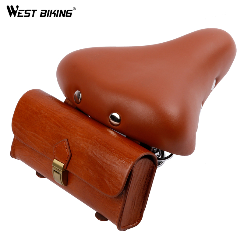 WEST BIKING Brown Bike Saddle With Bag Cycling Mountain Bicycle Vintage Seat Pack Storage Bag With Saddle Cycle Saddle Bag Set