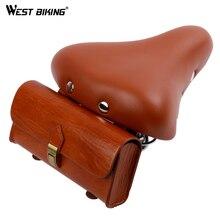 WEST BIKING Brown Bike Saddle With Bag Cycling Mountain Bicycle Vintage Seat Pack Storage Bag With