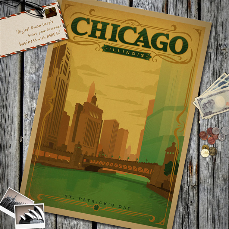 Chicago Illinois Vintage Retro Poster Kraft Paper Wall Sticker Art Painting Cafe Bar Pub Living Room Home Restaurant Decor