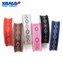 YAMA 1 inch 25mm 6 Colors Ethnic Tribal Style Printed Grosgrain Fringed Ribbon 50Yards/Rol for Crafts Decoration