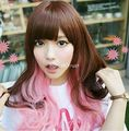 TJS &Wholesale&>> Lolita Long Wavy Hair Harajuku Brown Pink Mixed Kawaii Party Cosplay Wig