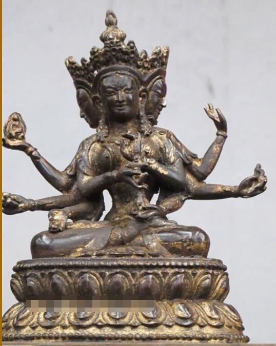 RHS0226 Tibet Old Red Bronze Three Face Three Eye 8 Hand Kwan Yin Saint Bodhisattva