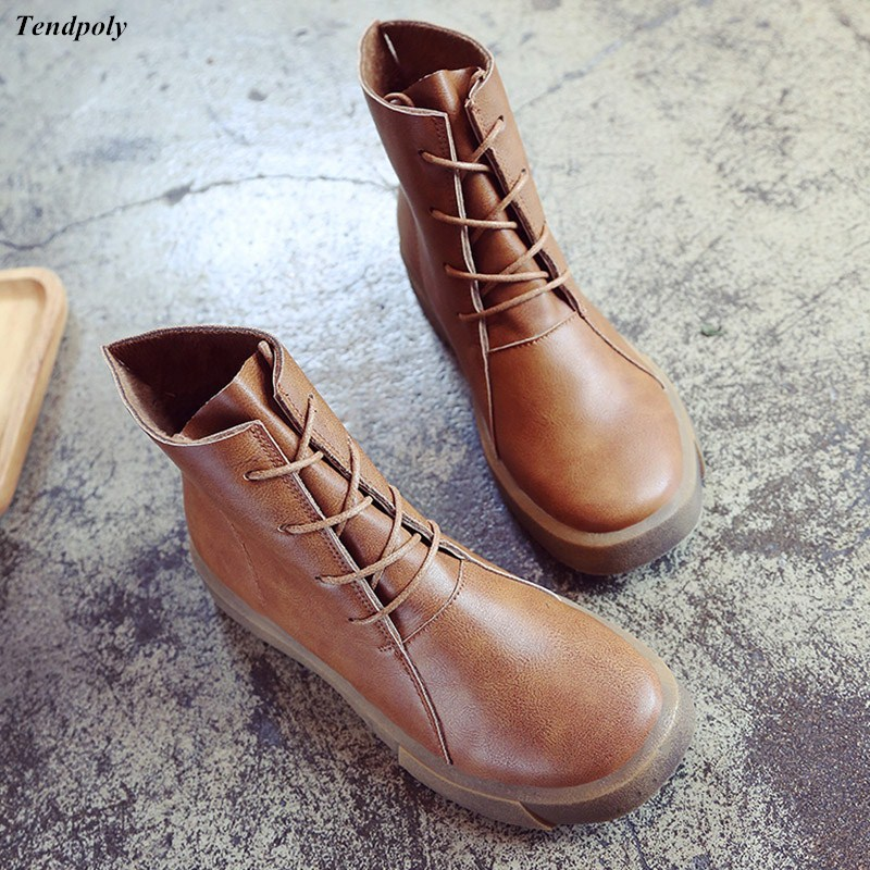 2018 Autumn winter The new size (35-39) retro Women's boots autumn round tie all-match boots fashion Edition casual Women shoes 2017 new autumn winter british retro men shoes zipper leather breathable sneaker fashion boots men casual shoes handmade