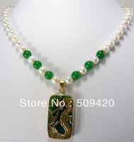 ~ ~ Libero ShippingCharming Bianco Perla Verde pietra nuova Collana Ciondolo Drago
