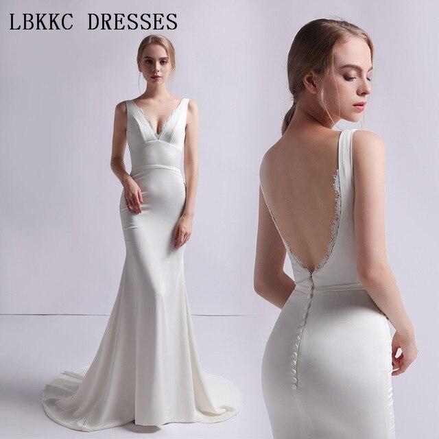 White Backless Lace Mermaid Wedding Dresses 2018 V Neck: White Mermaid Wedding Dress Satin Vestido De Noiva V Neck