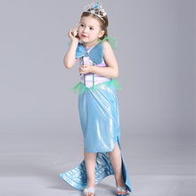 2016 New Baby Girl Dress Princess Mermaid Style Fish Fin Decoration Kid Lace Dress Cosplay Costume