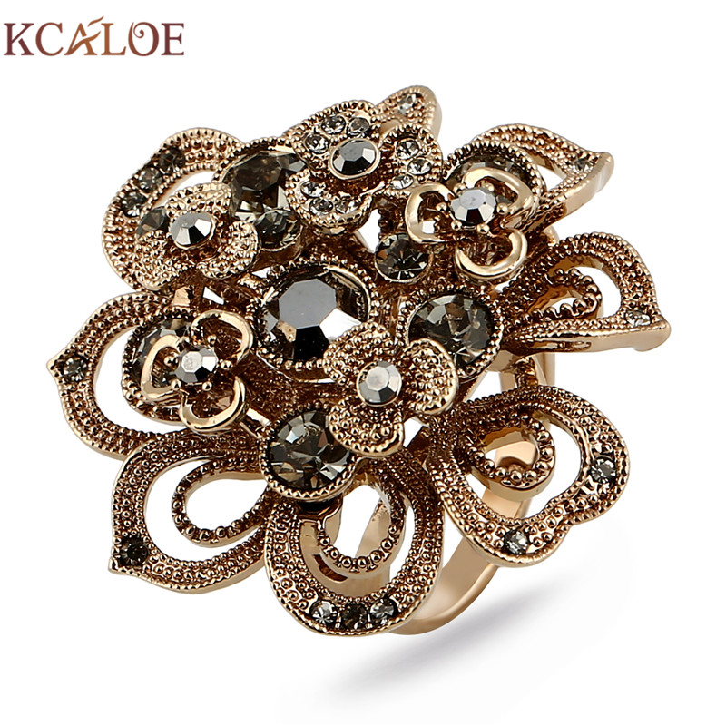 KCALOE Antique Titanium Gold Big Flowers Rings For Women Luxury Brown Crystal Rhinestone Women Engagement Ring Accessories