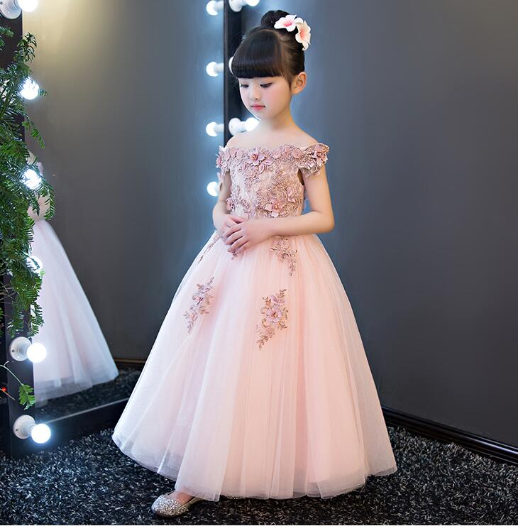 1-12Y Princess Tutu Tulle Flower Girl Pink Dress Kids Party Pageant Bridesmaid Wedding Tutu Dress Cute Gown Dress Robe Enfant hot style three points children quilted loose coat