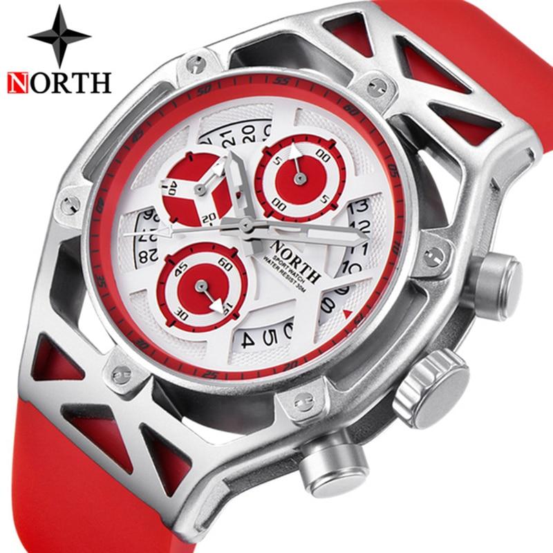 NORTH Men Watches Top Brand Luxury Sports Quartz Watch Fashion Chronograph Military Waterproof Wrist Watch Men Relogio Masculino