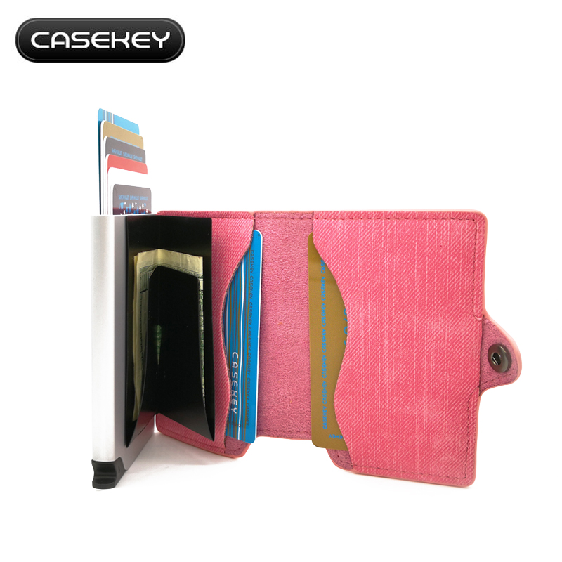 Casekey Slim Leather Credit Card Holder Man Compact Mini Purse Money Cash Women Wallet Female Business Card & ID Holder Sleeve