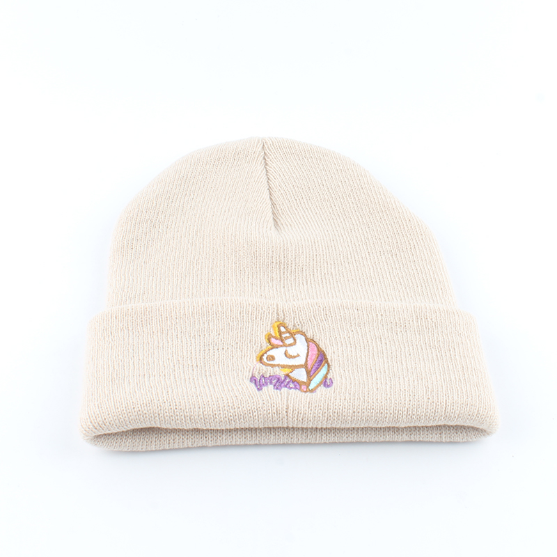 Image 4 - Autumn Women Beanie Winter Knitted Hat Unicorn Embroidery Slouchy Beanies For Ladies Black Skullies Hip Hop Cap-in Women's Skullies & Beanies from Apparel Accessories on AliExpress