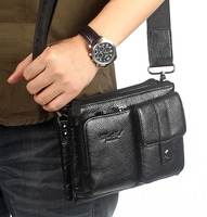 Men First Layer Cowhide Skin Genuine Leather Messenge Shoulder Cross Body Bag Waist Fanny Belt Hip