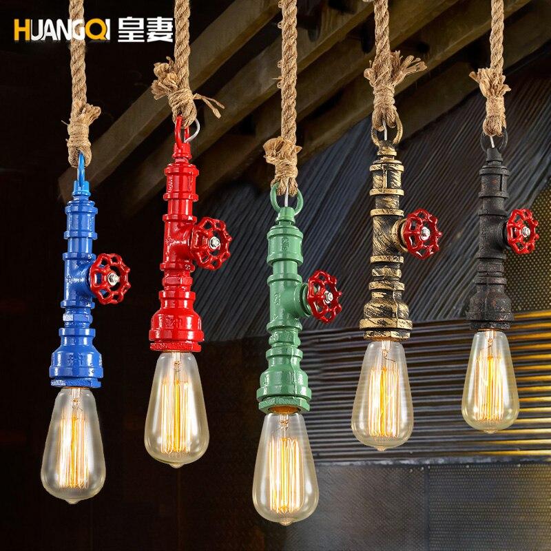 Loft américain rétro suspension lampe pendentif style industriel unique tête Restaurant