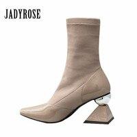 Jady Rose Design Women Ankle Boots Fashion Pointed Toe Sock Booties Ladies Strange 7cm High Heels Ladies Shoes Botas Mujer