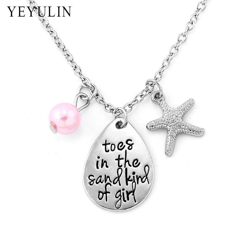 Toes in the sand kind of girl Engraved Water Drop Pendant Necklace With Starfish Charm Beach Jewelry