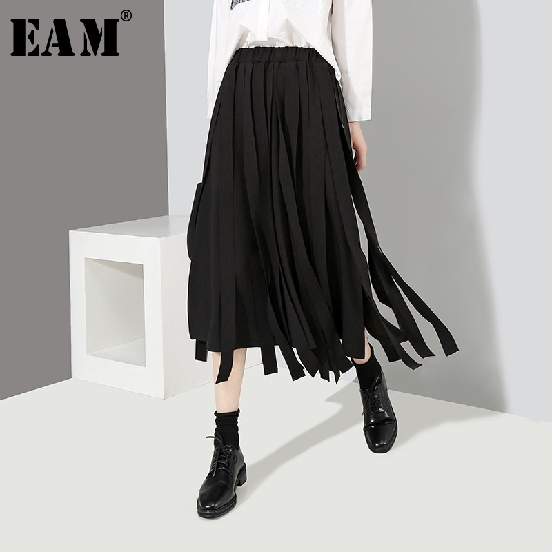 [EAM] 2019 New Spring High Elastic Waist Black Loose Big Size Ribbon Stitching Loose Half-body Skirt Women Fashion JH370