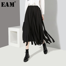 EAM 2019 New Spring High Elastic Waist Black Big Size Ribbon Stitching Loose