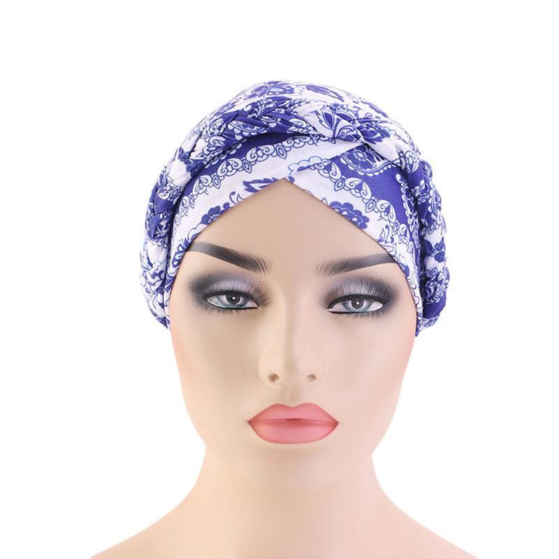 Image 2 - Women Cancer Hat Chemo Cap Ethnic Printed Muslim Beanie Braid  Head Scarf Turban Headwrap Cover Hair Loss Arab Bonnet FashionWomens  Skullies
