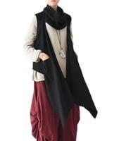 Yesno JT5 Women Fashion Halter Neck Cape Open Front Jacket Vest Cardigan Irregular Drape Hem Pile Collar