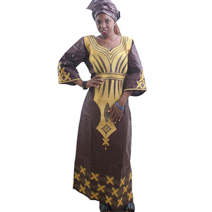 Image 2 - MD ladies african dresses scarf african bazin riche dress with embroidery head wrap women maxi dress african print dresses kanga