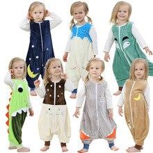 Весенне-осенний спальный мешок с длинными рукавами, фланелевая зимняя Рождественская Пижама с рисунком для маленьких девочек, спальный мешок для маленьких мальчиков