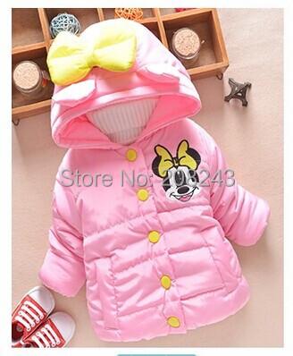 Venta caliente del ratón de Minnie Del Bebé Muchachas de Los Cabritos del Invierno outwear caliente con una capucha de algodón acolchado escudo chaquetas ropa de chica de invierno gruesa escudo