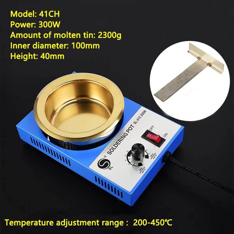 Lead-free Adjustable Temperature Melting Tin Furnace 100-300W Titanium Alloy Bench Soldering Pot Dip Soldering Machine