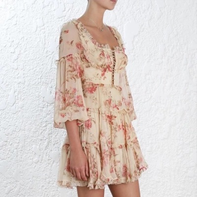 Runway Rüschen Frühjahr Langarm Chiffon Bedruckte Vinatge Sommer Frauen Kleid Designer Floral 2018 Für fngfCOZ