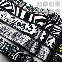 Guitar straps printed ultra thick super soft black and white thermal transfer acoustic guitar straps guitar parts