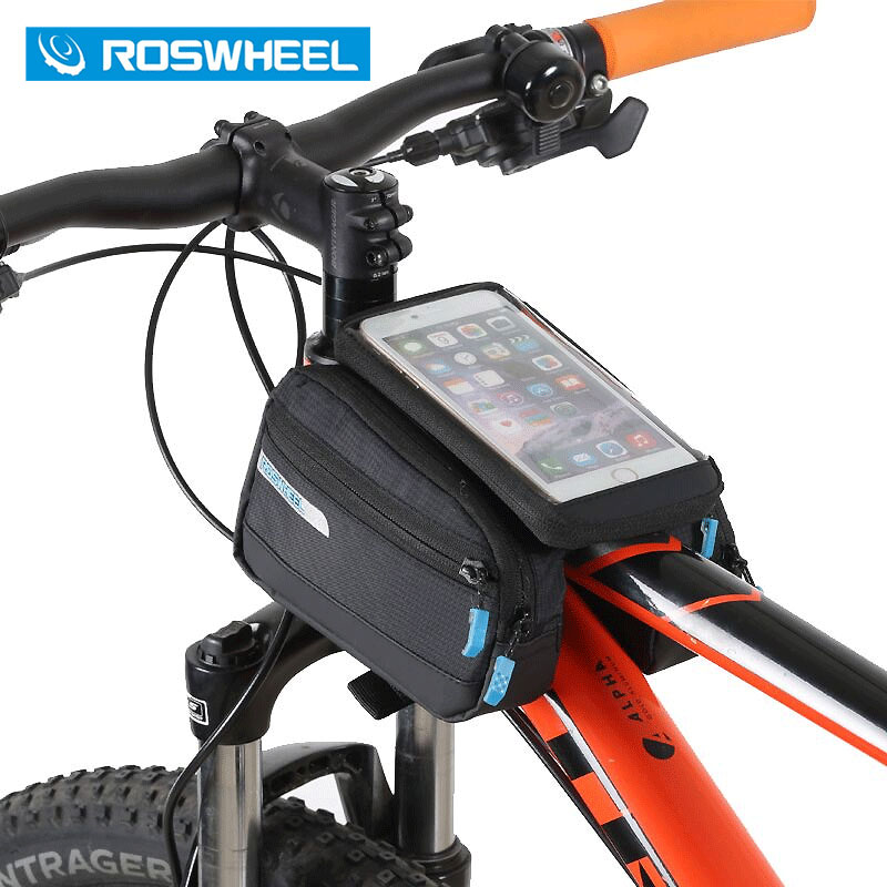 New ROSWHEEL Bicycle Smart Phone Bag 5.5 inch Large Touch Screen MTB Road Bike Cycling Top Frame Tube Basket Bycicle 121273