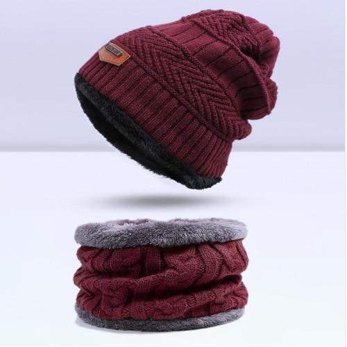 Зимняя вязаная шапка, шарф, набор, Мужская однотонная теплая шапка, шарфы, мужские зимние уличные аксессуары, шапки, шарф, 2 штуки - Цвет: Dark red1